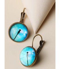 retro dragonfly pattern round earrings