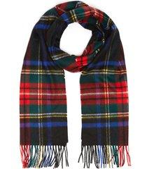 wide tartan fringe cashmere scarf