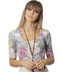 blusa ficalinda meia manga estampa exclusiva arabescos decote redondo