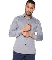 camisa  manga larga masculina gris plata los caballeros