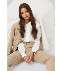 na-kd classic wide placket shirt - white