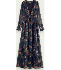 scotch & soda metallic maxi-jurk met lange mouwen