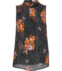 3310 - prosa top blouse mouwloos zwart sand