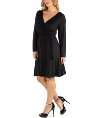 24seven comfort apparel womens knee length long sleeve plus size wrap dress