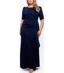 xscape plus size puff-sleeve crepe gown