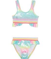 billieblush sequin-embellished rainbow bikini - blue