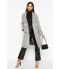 flannel double breasted wool look coat, grey
