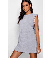 ruffle detail jersey shift dress, grey marl