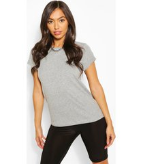 roll up sleeve basic t-shirt, grey marl
