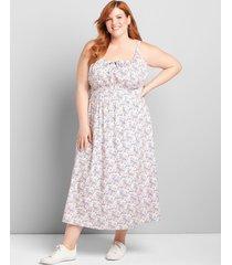 lane bryant women's shirred-waist midi dress 24 floral garland
