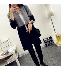 patchwork vintage sweater coat camisas tejidas paneladas slim-fit abri