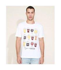 camiseta masculina types of beer manga curta gola careca branca
