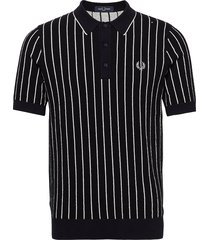 stripe knit shirt t-shirts short-sleeved blå fred perry