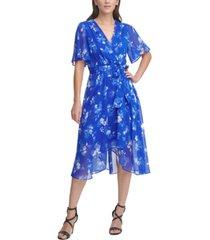 dkny floral-print asymmetrical-hem flutter-sleeve dress