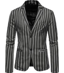 koyye blazer diario de negocios a rayas con cuello de solapa para hombre