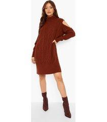 grof gebreide jurk met uitgesneden schouders, mahogany