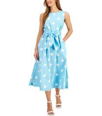 anne klein dot-printed tie-sash midi dress