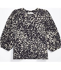 loft animal jacquard puff sleeve sweatshirt