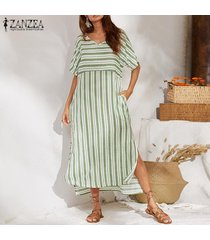 zanzea vestido largo de playa de manga corta a rayas sueltas de verano para mujer vestidos largos -verde