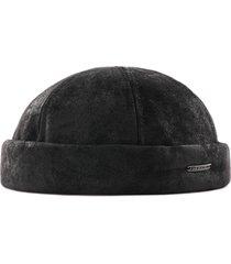 stetson hats leather docker hat   black   8827101-1