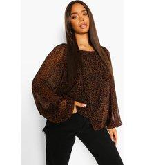 luipaardprint blouse met ballonmouwen, brown
