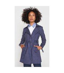 casaco trench coat calvin klein suede azul-marinho