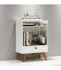aparador 2 portas de vidro 1 gaveta 100% mdf r419 wn off white/nobre - dalla costa