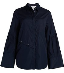 long-sleeve button-down top