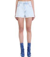 isabel marant étoile shorts in cyan cotton