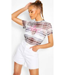 love print tie dye mesh top, charcoal