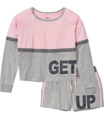 pyjamas med shorts och långärmad kort tröja