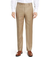 men's big & tall zanella todd relaxed fit flat front solid wool dress pants, size 46 x - beige