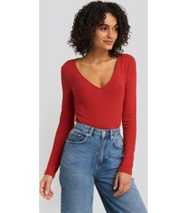 na-kd basic deep v-neck ribbed body - red