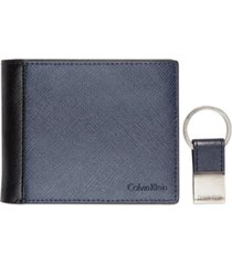 calvin klein saffiano leather two-tone bifold wallet & key fob