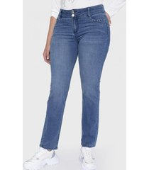 jeans dos botones aplicación bolsillo azul curvi