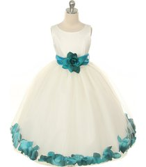 ivory dress teal sash and flower petals bridesmaid pageant prom girl dress