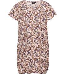 dress plus cotton short sleeves print kort klänning beige zizzi