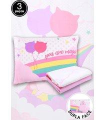 jogo de cama 3 pçs solteiro lepper fantasy rosa