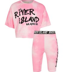 river island girls pink ri active tie dye t-shirt outfit