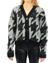 rd style women's houndstooth knitted cardigan - berry - size s