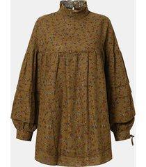 camicetta casual allentata a maniche lunghe con stampa floreale patchwork per donna