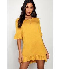 jersey jurk met ruches, woestijnzand