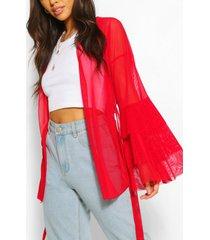ruffle sleeve mini kimono, red
