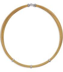 alor women's goldtone stainless steel, 18k white gold & diamond necklace - gold