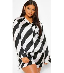 plus gestreepte candy cane pyjama set met shorts, black