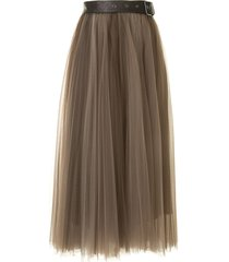 brunello cucinelli belted tulle skirt - brown