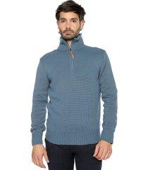 sweater azul 60 preppy m/l c/alto 1/2 cremallera tejido medio