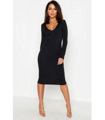 geribbelde midi jurk met laag decolleté, zwart