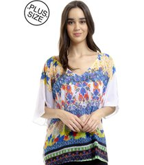blusa 101 resort wear tunica estampada multicolorido