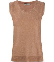 d.exterior lurex knit vest - brown